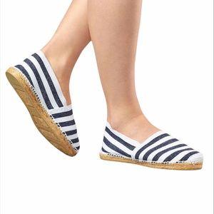 DIEGO Handmade In Spain Blue/White Stripe Slip On Espadrilles -39